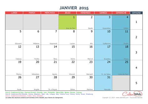 Calendrier Janvier 2015 Calendrier Mensuel Mois De Janvier 2015 Avec F 234 Tes