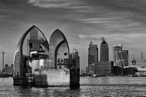 thames barrier office thames barrier and canary wharf black and white london
