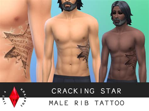 simskrampus cracking star rib tattoo