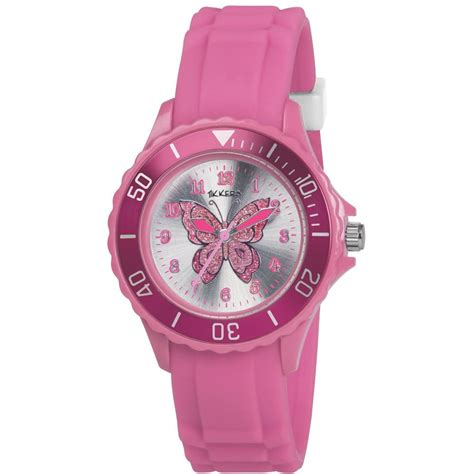 watch girls girls butterfly pink strap watch tk0051 from british