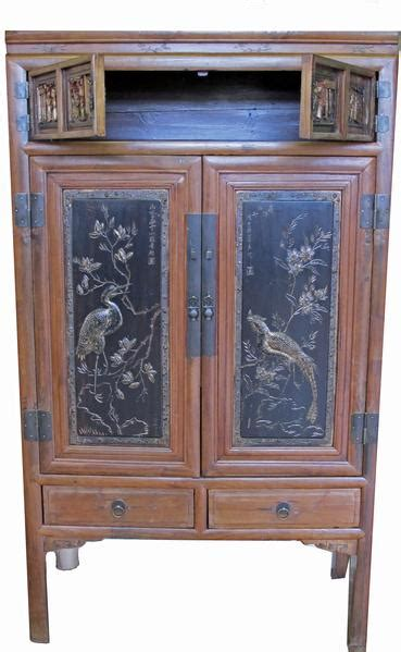 antique chinese cabinet   carved  hand painted