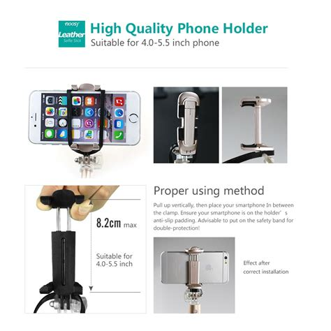 Noosy Leather Selfie Stick With Detachable Bluetooth Remote Shutter noosy leather selfie stick with detachable bluetooth