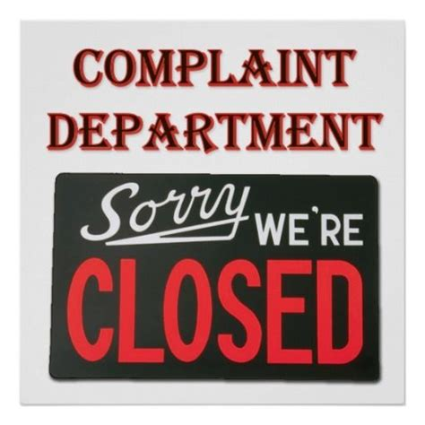 Complaint Department by Complaint Department We Re Closed Poster