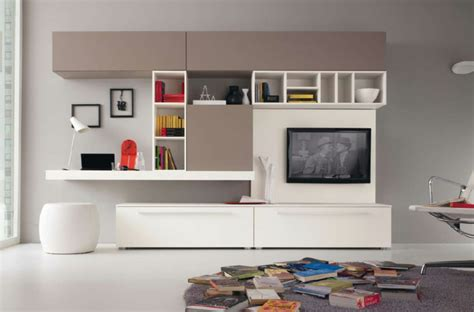 Bookcase Tv Wall Unit Am 233 Nagement De Bureau Moderne Dans Un Salon Design