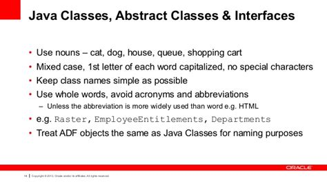 java layout conventions oracle adf architecture tv development naming