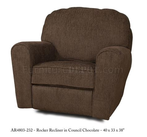 Modern Fabric Recliners by Council Chocolate Fabric Stylish Modern Rocker Recliner