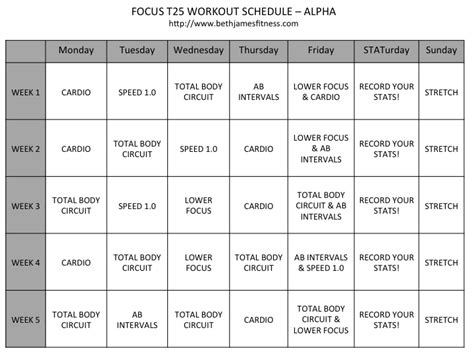 Calendrier T 25 Focus T25 Workout Schedule Calendar