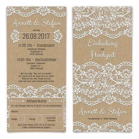 Hochzeitseinladungen Shop by Hochzeitseinladungen Antwortkarte Kraftpapier Spitze