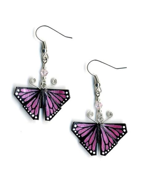 monarch butterfly origami pink monarch butterfly origami earrings by leafpiece on etsy