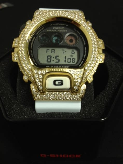 iced out gold g shock white dw6900 custom g shock