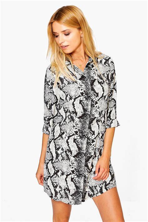 Agneta Dress agneta snake print shirt dress at boohoo