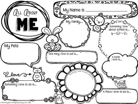 all about me template free back to school printable