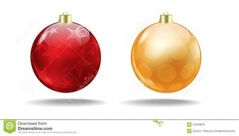 red and orange christmas tree balls vector stock photo