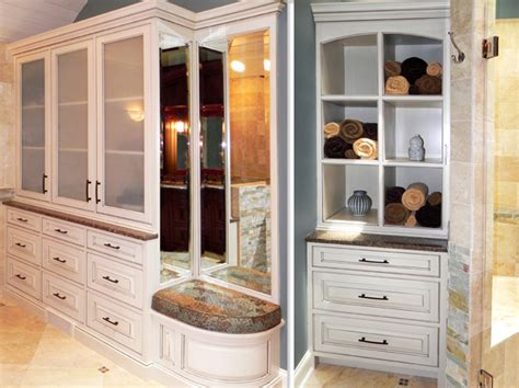 bathroom hutch cabinet rich masculine bathroom cabinets by graber
