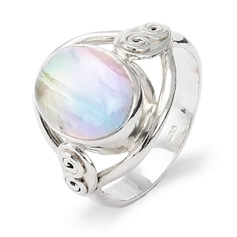 Moonstone Ring sterling silver oval rainbow moonstone ring s addiction 174
