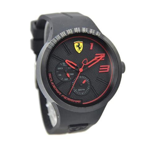 Jam Tangan Murah Pria Ferari Speed Rubber Merah Fullset jual rubber jam tangan pria hitam jarum merah 0830394 harga kualitas