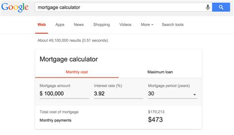 calculator google google s mortgage calculator quick answer now live