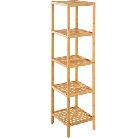 Bamboo Bathroom Shelving 5 Tier Bamboo Wooden Kitchen Bath Bathroom Shelf Rack Organiser Unit Storage Ebay
