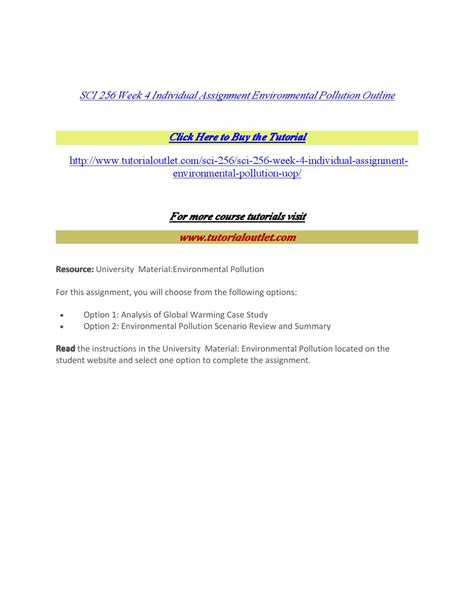 Sci 256 Week 4 Outline by Sci 256 Week 4 Individual Assignment Environmental Pollution Outline By Welcome32 Issuu