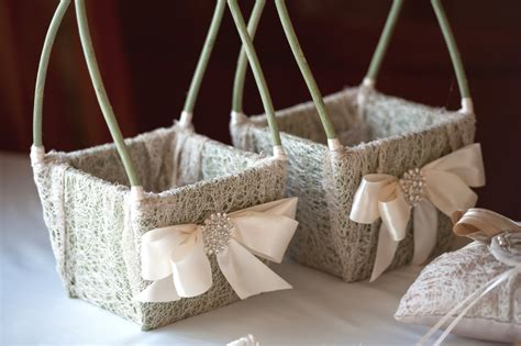 Wedding Baskets by Flower Basket Wedding Basket Rustic Shabby Chic