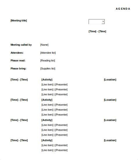 meeting agenda template 46 free word pdf documents
