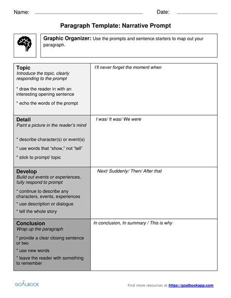 Narrative Template Paragraph Template Udl Strategies