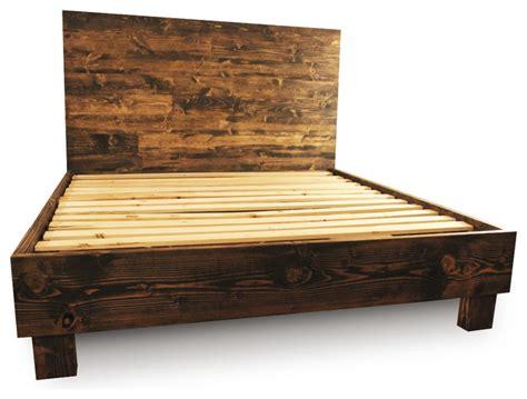Farm Style Platform Bed Frame Dark Walnut Full Rustic Farmhouse Bed Frame Plans