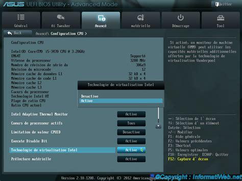 Logiciel Modification Bios by Comment Activer La Virtualisation Vt X Amd V Dans Le Bios