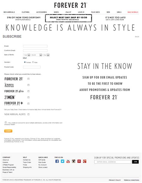 email xxi forever 21 newsletter signup inspiration the best of email