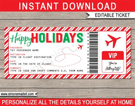 Holiday Boarding Pass Ticket Template Fake Plane Ticket Gift Airline Ticket Gift Template
