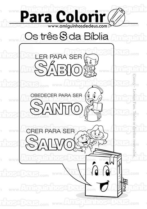 Os três S da Bíblia desenho para colorir ~ Amiguinhos de Deus