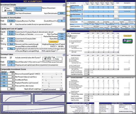 business investment template spreadsheets investment and business valuation shareware