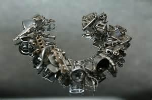 Fish Flower Horn - charm bracelet vintage sterling charm bracelet