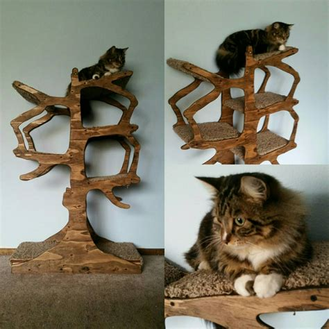 Handmade Cat Trees - handmade cat tree shaped like a tree