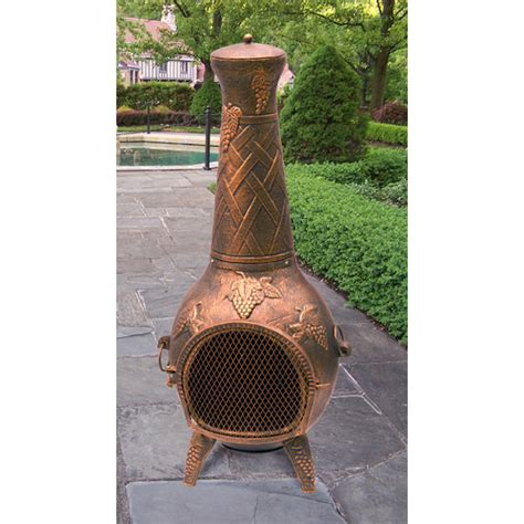 cast iron chiminea walmart oakland living grape cast iron wood burning chiminea by