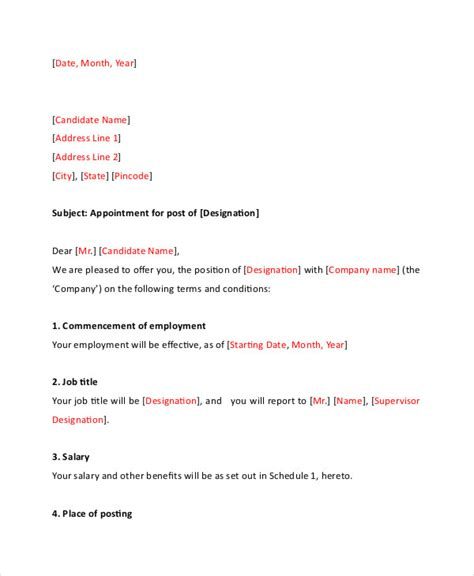 simple appointment letter format doc appointment letter 19 free word pdf documents