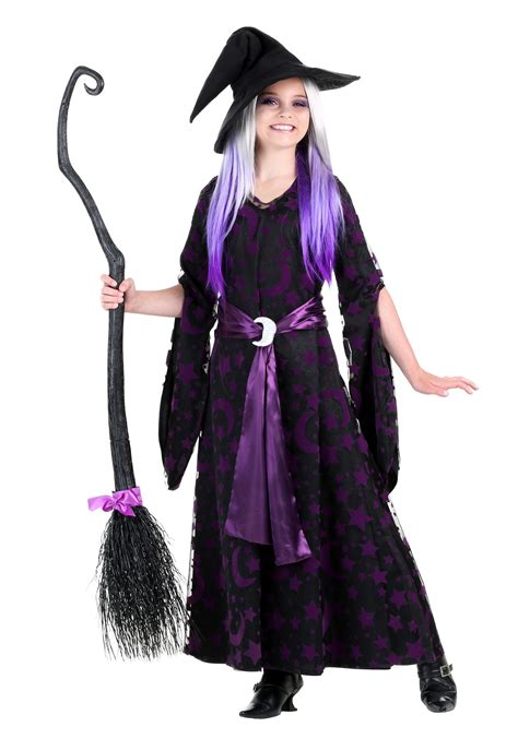 halloween costumes girls purple moon witch costume