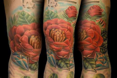 camellia flower tattoo camellia flower kneecap by tim senecal tattoonow