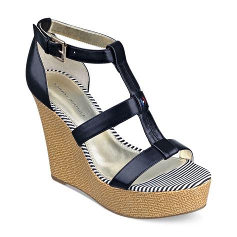 hilfiger wedge sandals hilfiger adalinay platform wedge sandals in black lyst