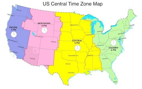 texas time zone map central daylight time in us now cdt now us time zones map