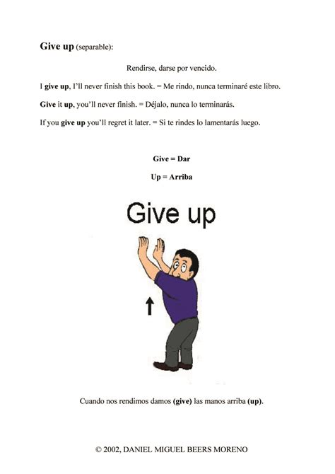 verb pattern give up phrasal verbs talking in silver