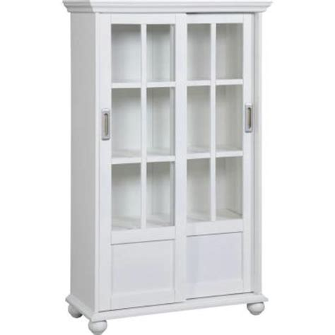 Altra Bookcase With Sliding Glass Doors Altra Furniture 4 Shelf Bookcase With Sliding Glass Door In White 9448096 The Home Depot