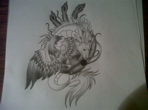 phoenix and dragon tattoo yin yang design