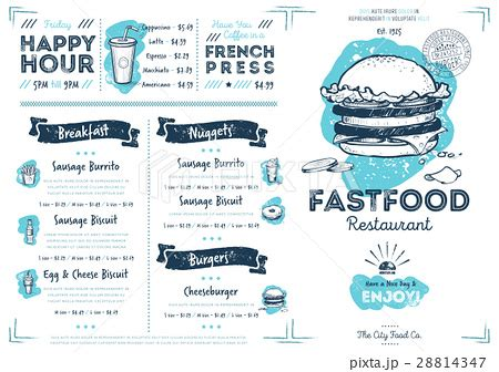cover layout of continental breakfast restaurant cafe fast food menu templateのイラスト素材 28814347