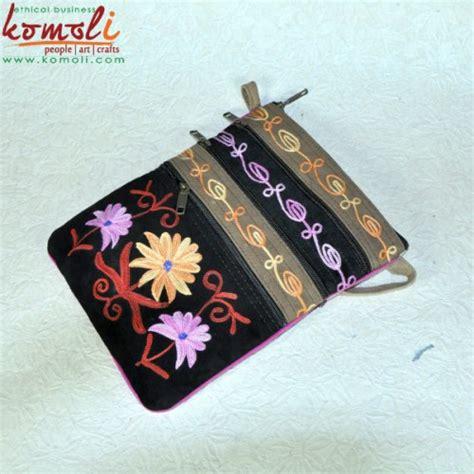 Floral Sling Bag Leather multi pocket floral design split suede leather soft