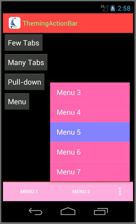 options menu layout android silver bay technologies 187 themes for the android actionbar