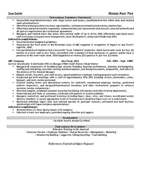 resume sles for hospitality industry food sales resume