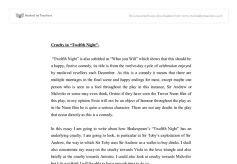 Twelfth Essay by Cruelty In Quot Twelfth Quot A Level Marked By Teachers