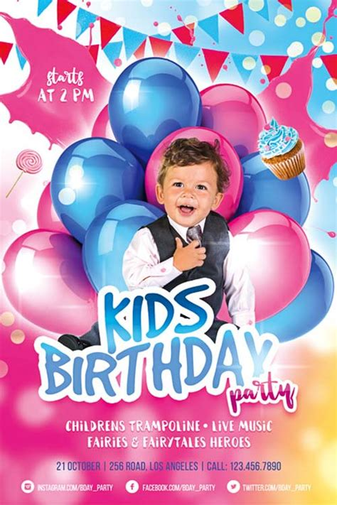 Kids Birthday Party Free Flyer Template Download For Photoshop Happy Birthday Photoshop Template