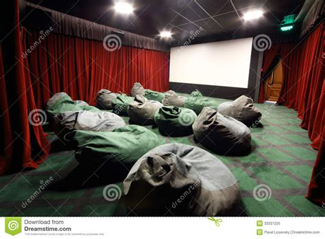 comfortable movie theater comfortable unusual seats like sacks in movie thea stock